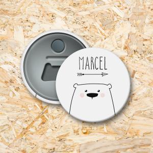 Knuffelberen Button flesopener 56 mm
