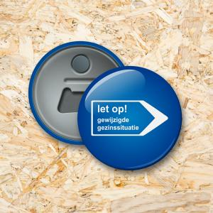 Verkeersbord Button flesopener 56 mm