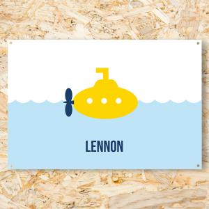 Geboortespandoek gele duikboot 120x80 cm