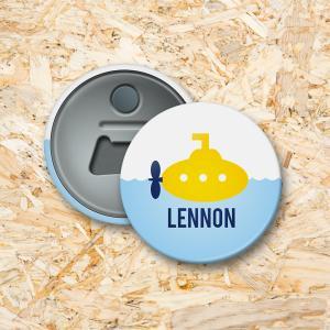 Gele duikboot Button flesopener 56 mm