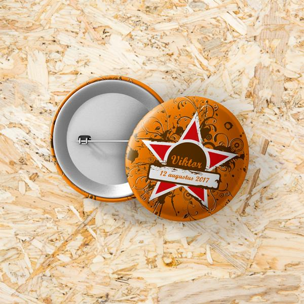 Button speld 37 mm Grunge star
