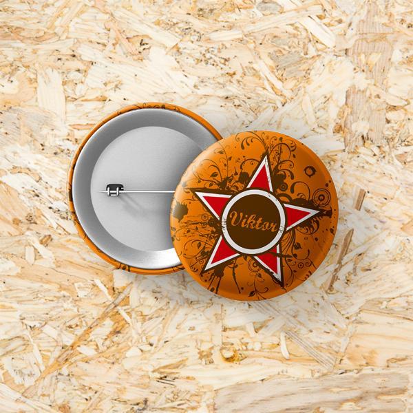 Button speld 37 mm Grunge star