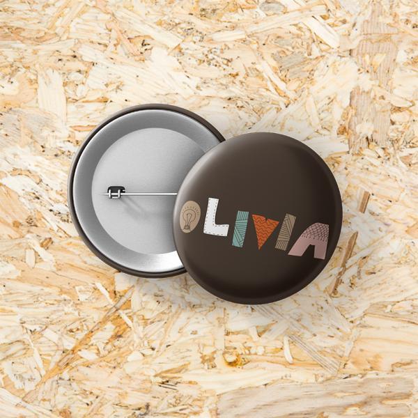 Button speld 37 mm Huisje tuintje boompje