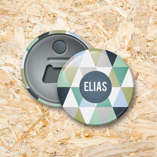 Driehoekjes jongen Button flesopener 56 mm