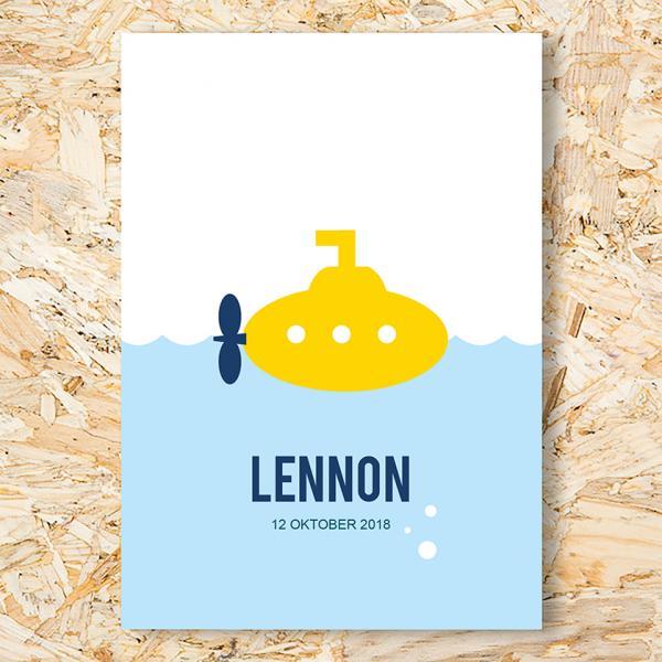 Gele duikboot geboortekaartje